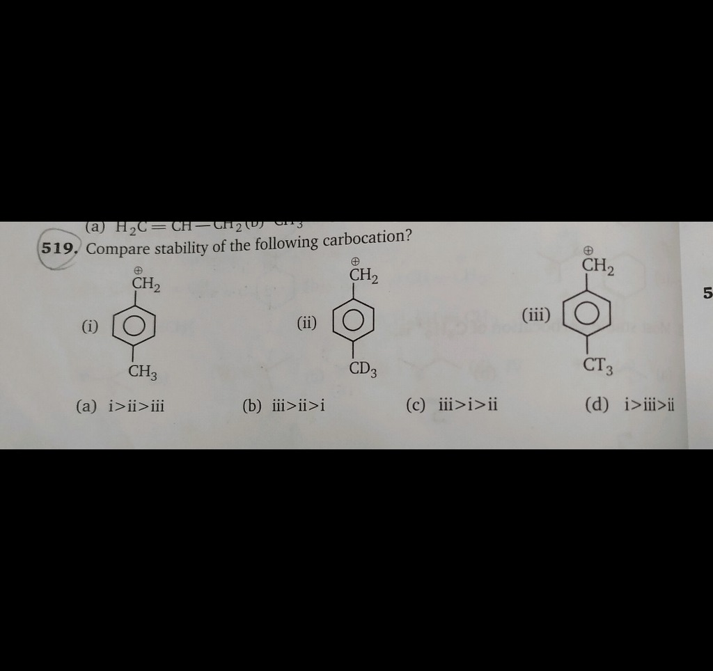 Compare the stability of the carbocations