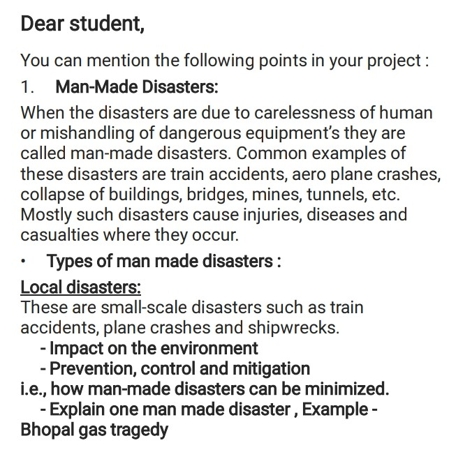 make a project on man made disaster in about 1000 to 2000