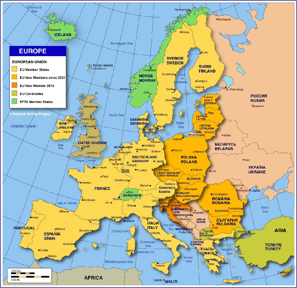 European map showing its countries and capitals - Social ...