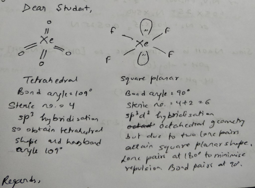 Compare bond angle of XeO4 and XeF4 with reason ...
