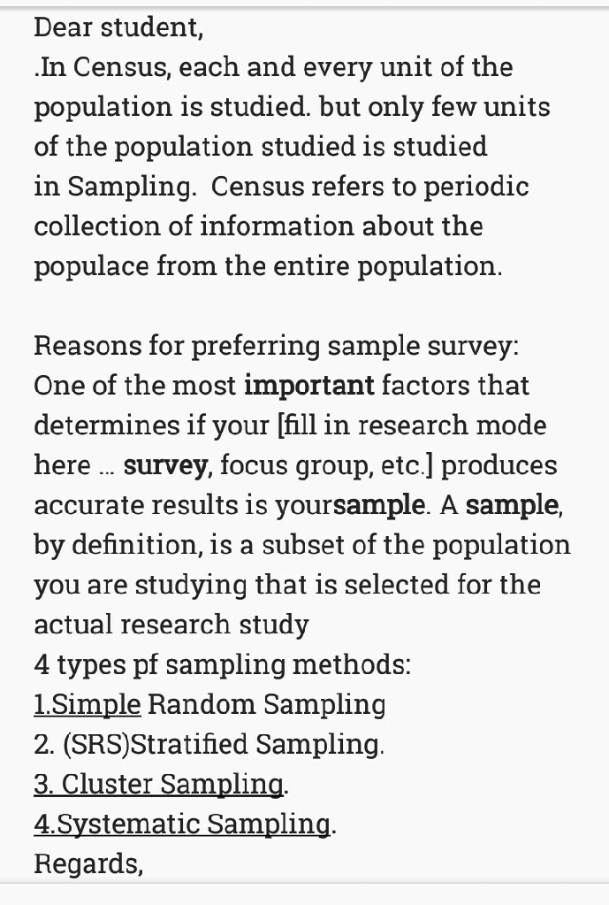 distinguish between census and sample surveys list four important