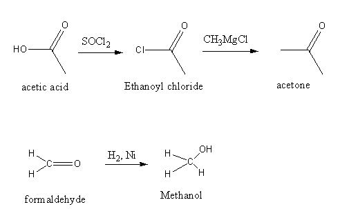 convert acetic acid to acetone formaldehyde to methyl alcohol