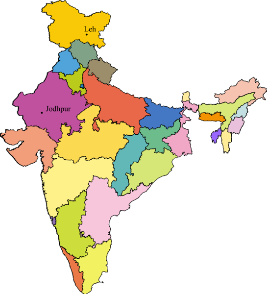 Could Anyone Show Jodhpur And Leh On Indian Outline State Map