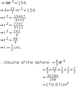 Find the volume of a sphere whse surface area is 154cm2 expert answer ccuart Choice Image
