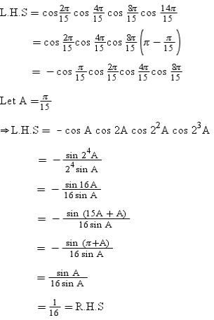 Prove That Cos 2pi 15 Cos 4pi 15 Cos 8pi 15 Cos 14pi 15 1 Math Trigonometric Functions 2899359 Meritnation Com