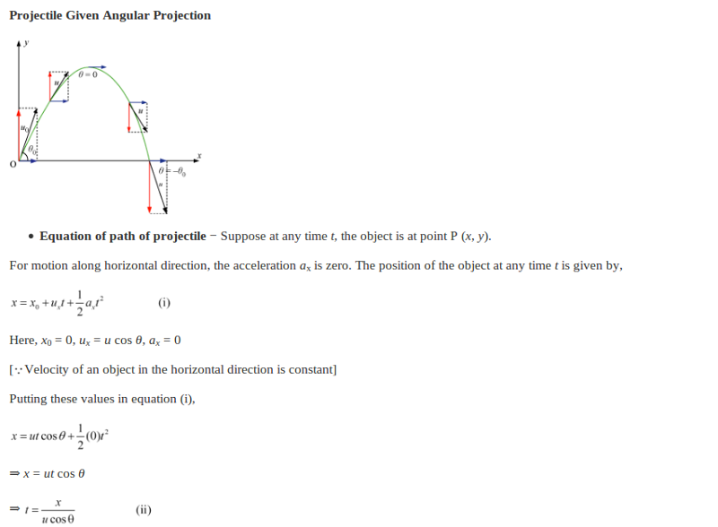 what is uniform projectile motion write down its formula