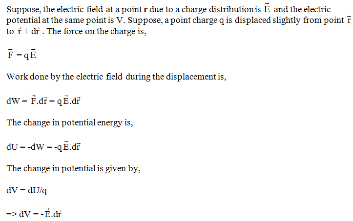 Define Potential Gradient Obtain The Relation Between Electric Field