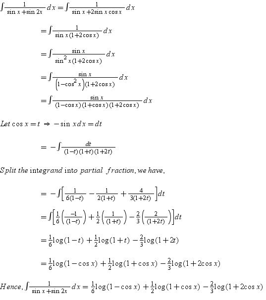 Integrate: ((1/(sinx + Sin2x )) Dx Math Integrals
