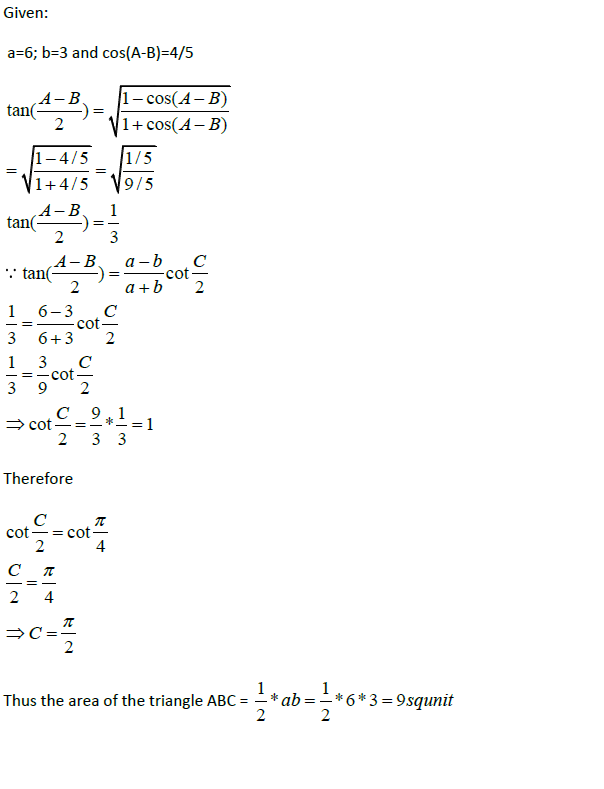 how to find cos of a triangle