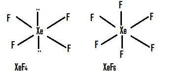 Draw structure of following compound XeF4, XeF6,XeO3,XeOF2 ...