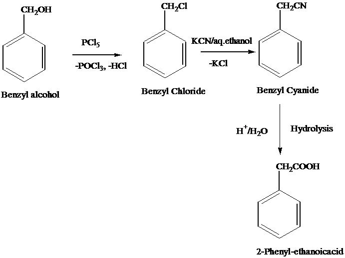 Do the following conversions (i) Benzyl alcohol to 2 phenyl ethanoic