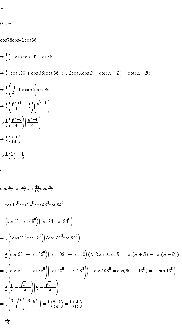 Prove That Cos 78 Cos 42 Cos 36 1 8 Prove That Cos Pi 15 Math Trigonometric Functions 4902506 Meritnation Com