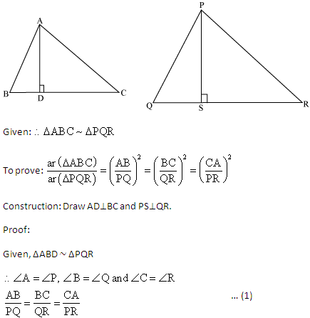 prove that the ratio of area of two similar triangles is equal to ...