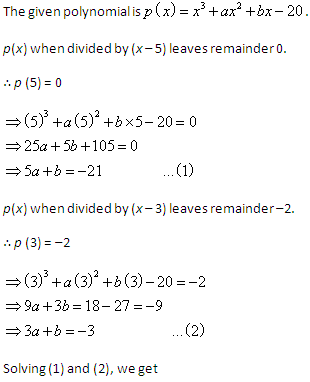 a divided by b_The polynomial p(x)=x3 + ax2 + bx - 20 when divided by (x-5) and (x-3) leaves the Math ...