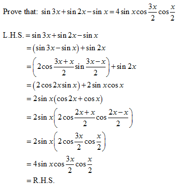 Prove that sin3x + sin 2x – sinx = 4 sinx cos x/2 cos3x/2 ...