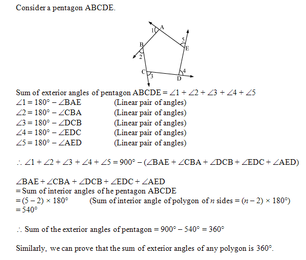 Sum Of Exterior Angles Prove That The Sum Of Exterior Angles Of A Polygon Is 360 Plz Hel