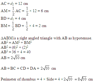 The area of a rhombus is 24cm2 and one of its diagonal is 4cm ...